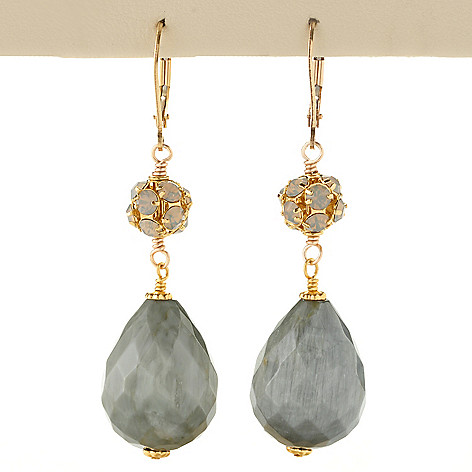 128-340 - mariechavez 2'' Teardrop Shaped Gemstone & Crystal Drop Earrings