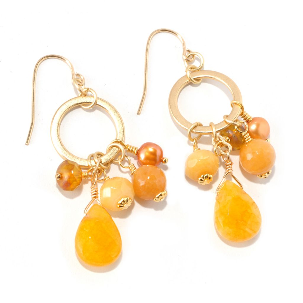 128-342 - mariechavez Multi Gemstone Circle Dangle Earrings