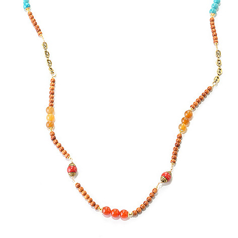 128-347 - mariechavez 37.5'' Wood & Multi Gemstone Beaded Station Necklace