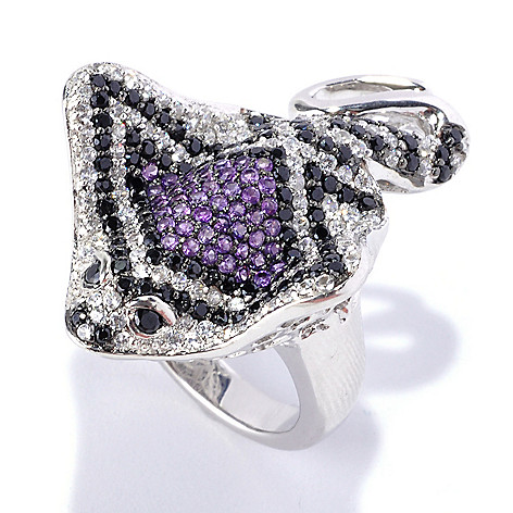 128-355 - Gem Treasures Sterling Silver 3.12ctw Black Spinel, White Zircon & Amethyst Stingray Ring