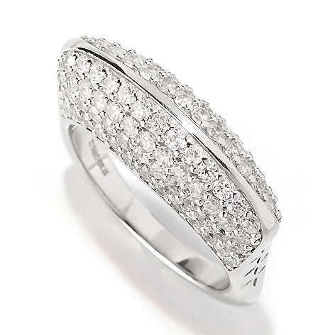 128-356 - Sonia Bitton 3.18 DEW Pave Geometric Simulated Diamond Euro Shank Ring