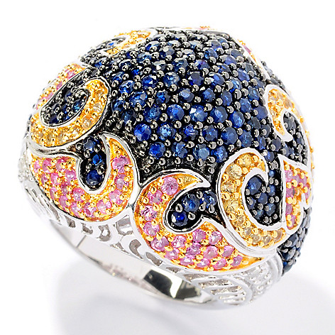 128-360 - Gem Treasures® Sterling Silver 4.76ctw Multi Color Sapphire & Diamond Dome Ring