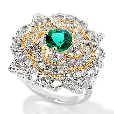 128-362 - Champenois® 1.68 DEW Two-tone Simulated Diamond Emerald Milgrain Ring