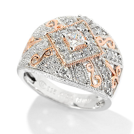 128-363 - Champenois® for Brilliante® Two-tone Milgrain & Carved Dome Ring