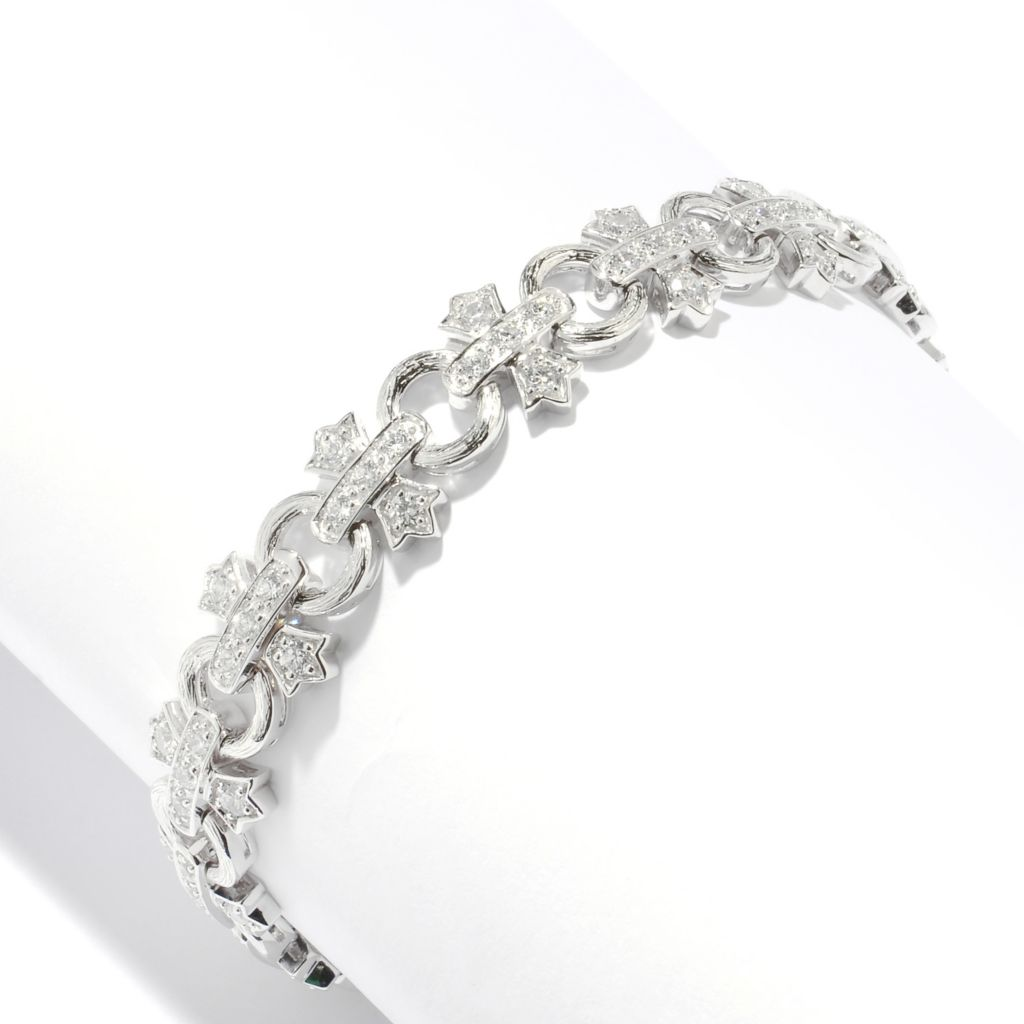 128-370 - Champenois® Round Cut Simulated Diamond Cross & Circle Link Bracelet