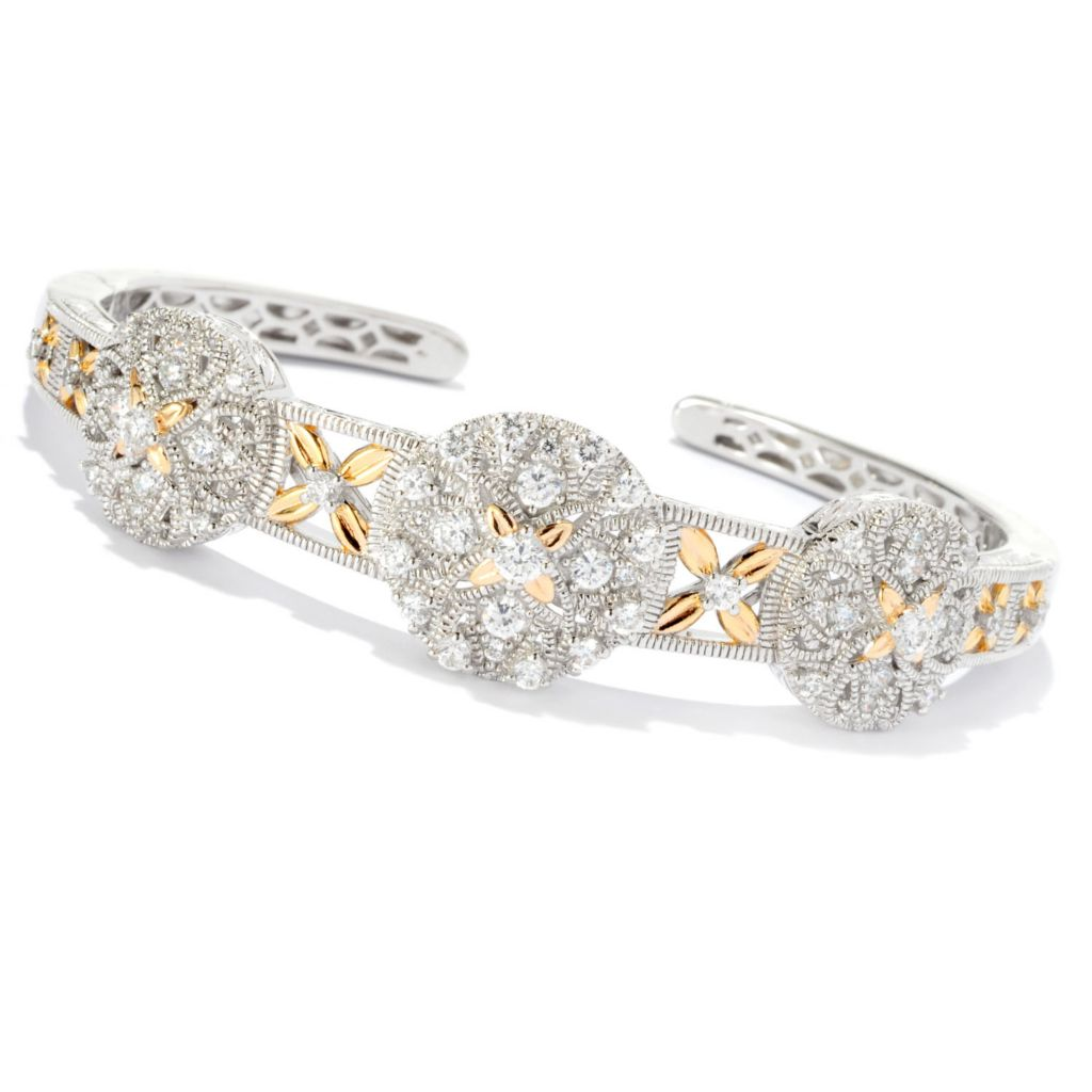 128-372 - Champenois® 1.43 DEW Two-tone Circle Station Simulated Diamond Bangle Bracelet