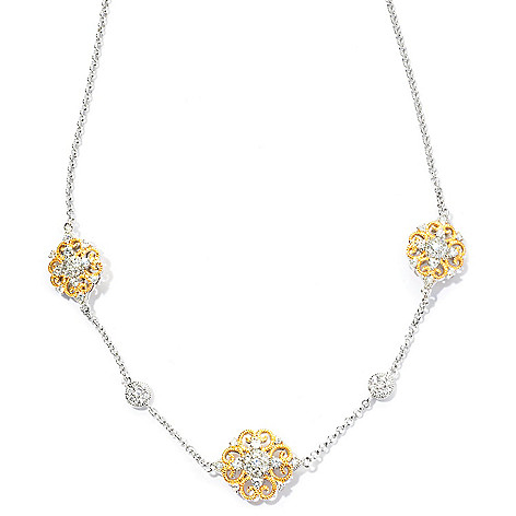 128-373 - Champenois® 18'' 2.31 DEW Two-tone Simulated Diamond Milgrain Station Necklace
