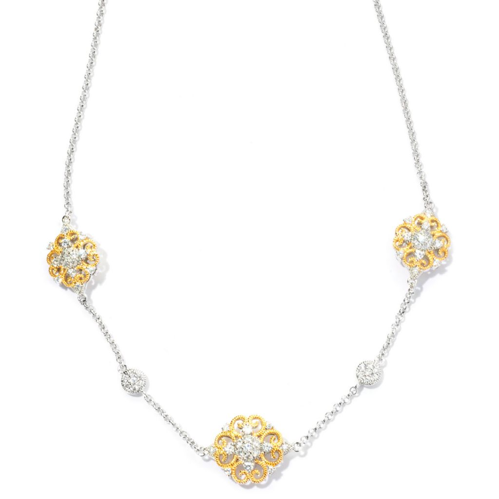 "128-373 - Champenois® 18"" 2.31 DEW Two-tone Simulated Diamond Milgrain Station Necklace"