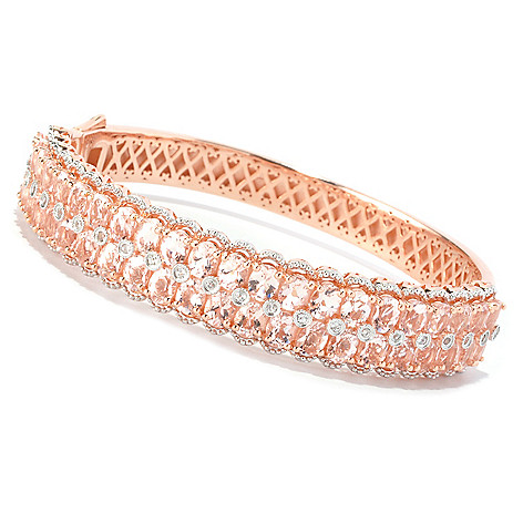128-376 - NYC II 14.56ctw Morganite & White Zircon Hinged Bangle Bracelet