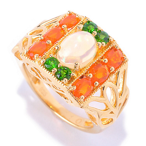 128-377 - NYC II 1.56ctw Ethiopian Opal, Fire Opal & Chrome Diopside Ring