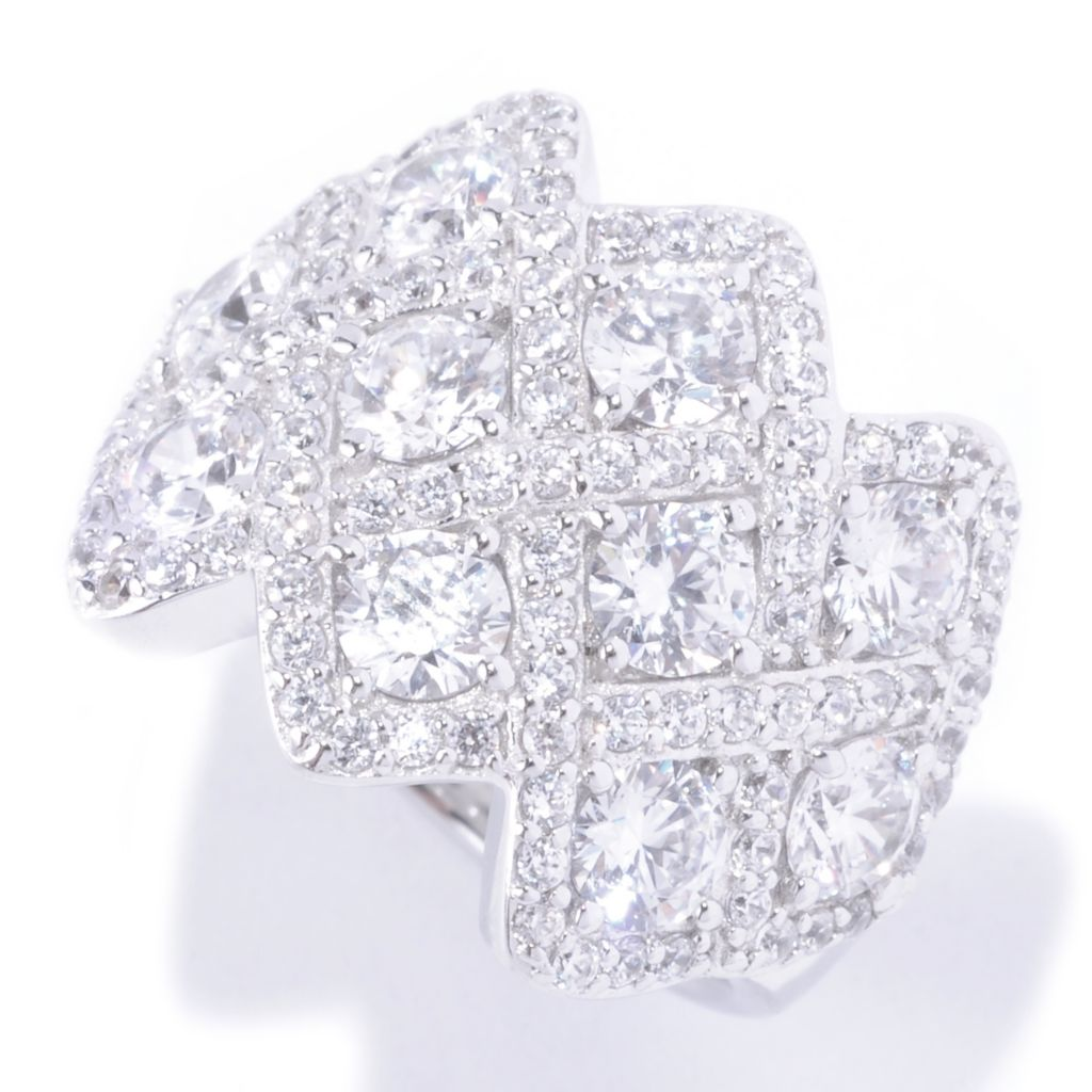 128-379 - Charlie Lapson Platinum Embraced™ 3.43 DEW Round Cut Simulated Diamond Woven Ring