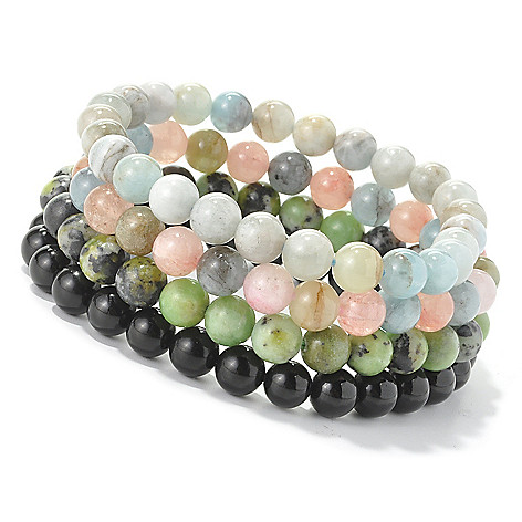 128-385 - Gem Treasures Set of Four 7.25'' Exotic Gemstone Bead Stretch Bracelets