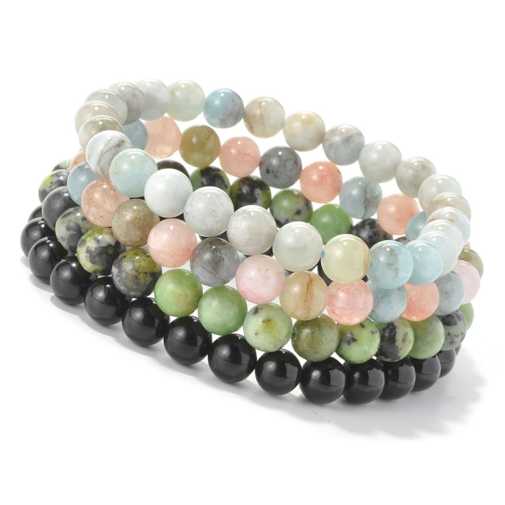"128-385 - Gem Treasures Set of Four 7.25"" Exotic Gemstone Bead Stretch Bracelets"