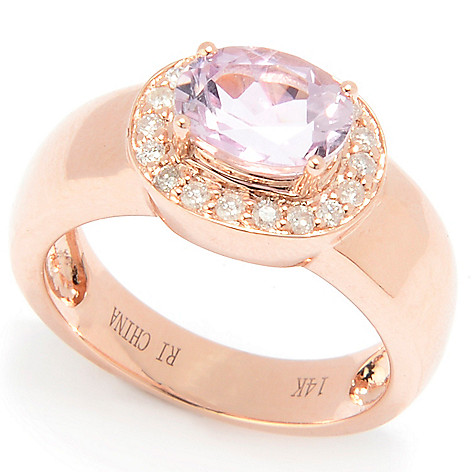 128-388 - Gem Treasures® 14K Rose Gold 1.54ctw Oval Blue Tanzanite & Diamond Ring