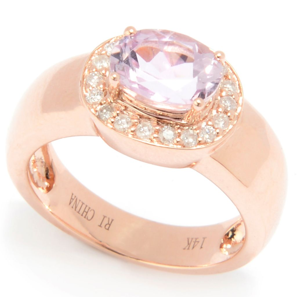 128-388 - Gem Treasures 14K Rose Gold 1.54ctw Oval Blue Tanzanite & Diamond Ring