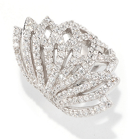 128-399 - Sonia Bitton Platinum Embraced™ 2.18 DEW Round Cut Simulated Diamond Elongated Fan Ring