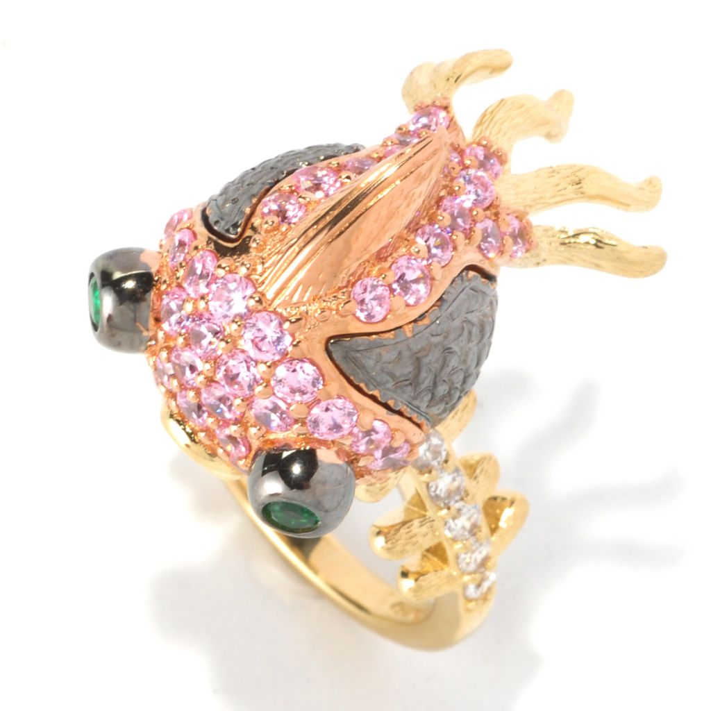 128-407 - Neda Behnam Tri-tone 1.73 DEW Multi Color Simulated Diamond Blowfish Ring