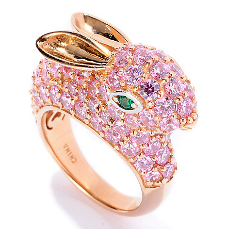 128-409 - Neda Behnam Gold Embraced™ 5.86 DEW Multi Simulated Gemstone Bunny Ring