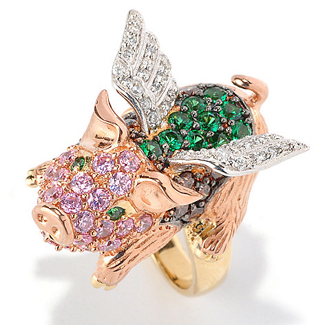 128-411 - Neda Behnam Tri-tone 2.59 DEW Multi Color Simulated Diamond Flying Pig Ring
