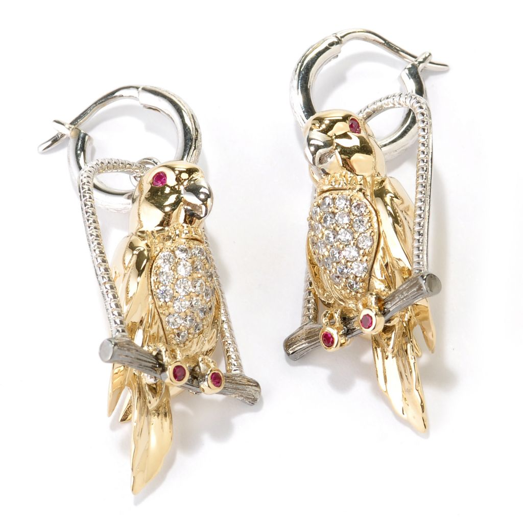 128-416 - Neda Behnam Tri-color Polished Round Simulated Gemstone Swinging Parrot Earrings