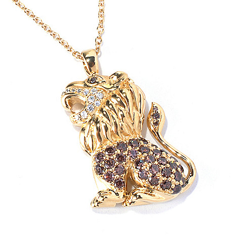128-419 - Neda Behnam Gold Embraced™ 1.39 DEW Simulated Diamond Lion Pendant