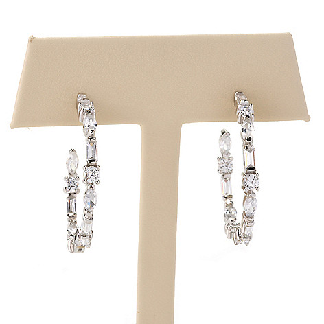 128-421 - Brilliante® Platinum Embraced™ 1'' 3.32 DEW Simulated Diamond Inside-Out Hoop Earrings