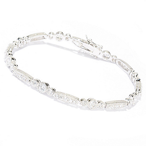 128-424 - Brilliante® Platinum Embraced™ Round Cut Simulated Diamond Milgrain Line Bracelet
