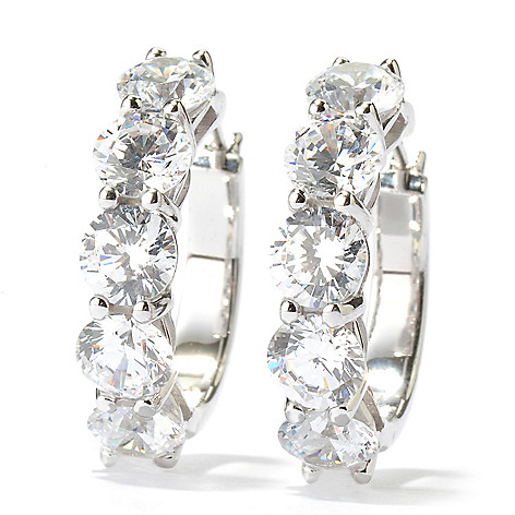 128-430 - Brilliante® 4.60 DEW Round Cut Shared Prong Simulated Diamond Huggie Hoop Earrings
