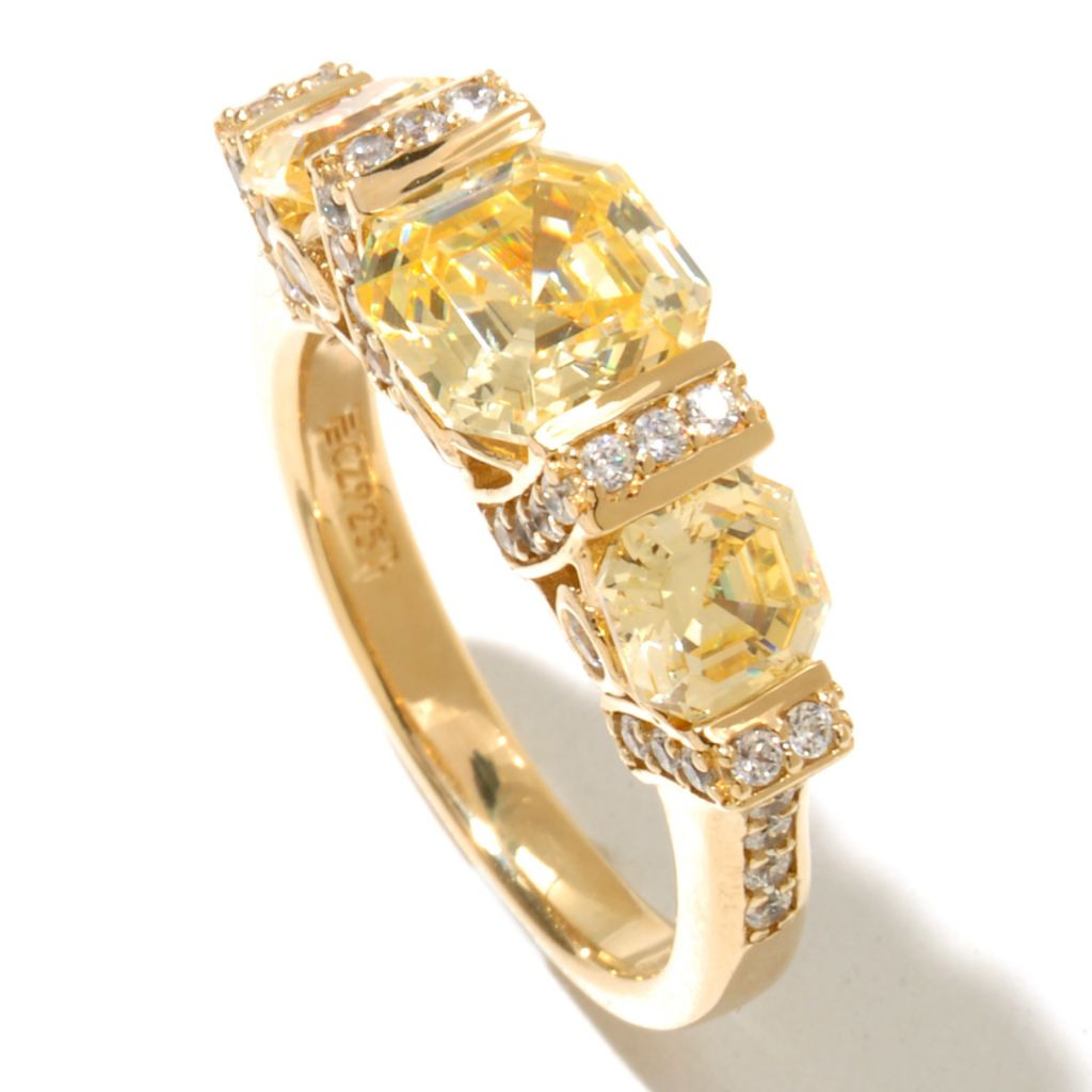 128-438 - Brilliante® 18K Gold Embraced™ 3.64 DEW Simulated Diamond Asscher Cut Ring