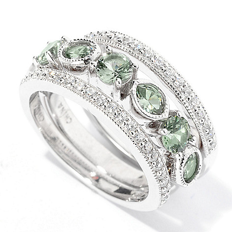 128-440 - Brilliante® Platinum Embraced™ Multi Shape Simulated Diamond Three-Ring Set