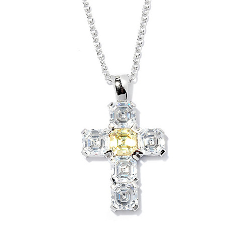 128-443 - Brilliante® Platinum Embraced™ 3.78 DEW Asscher Simulated Diamond Cross Pendant w/ Chain