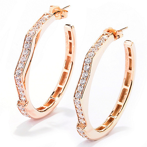 128-444 - Sonia Bitton 1.26 DEW Geometric Zigzag Simulated Diamond Hoop Earrings