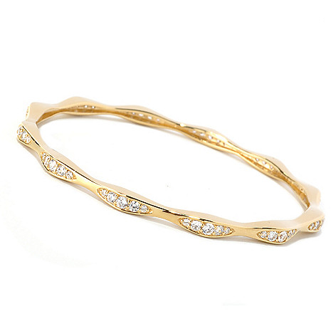 128-445 - Sonia Bitton 2.20 DEW Round Cut Simulated Diamond Wave Slip-on Bangle Bracelet