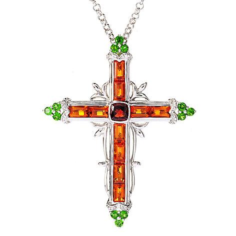 128-448 - NYC II 3.13ctw Madeira Citrine, Garnet & Chrome Diopside Cross Pendant w/ Chain