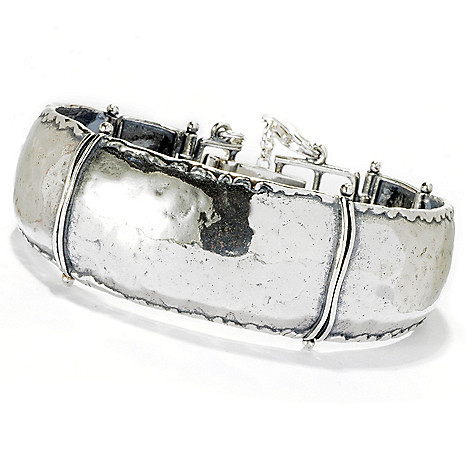 128-455 - Passage to Israel Sterling Silver Hammered & Oxidized Bracelet