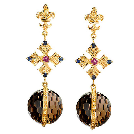 128-458 - Dallas Prince Designs 16mm Smoky Quartz Bead, Sapphire & Rhodolite Earrings
