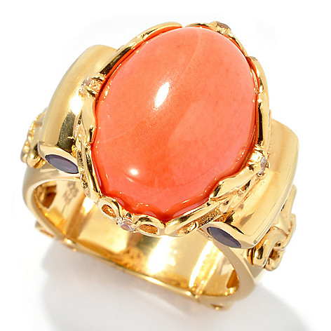 128-459 - Dallas Prince Designs 15.5 x 12mm Bamboo Coral, Amethyst & White Sapphire Ring