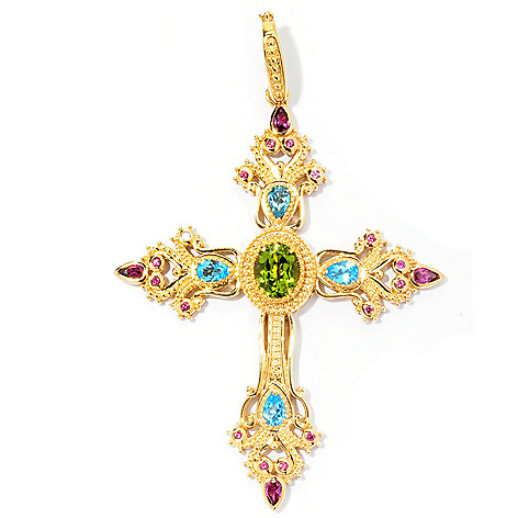 128-461 - Dallas Prince Designs 6.48ctw Peridot, Rhodolite & Swiss Blue Topaz Cross Enhancer Pendant