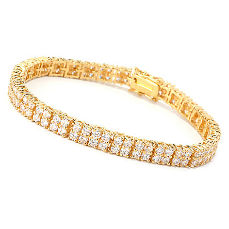 128-465 - Brilliante® Faceted Round Cut Simulated Diamond Two-Row Line Bracelet