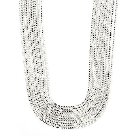 128-469 - SempreSilver® 18'' Polished Multi Strand Graduated Necklace