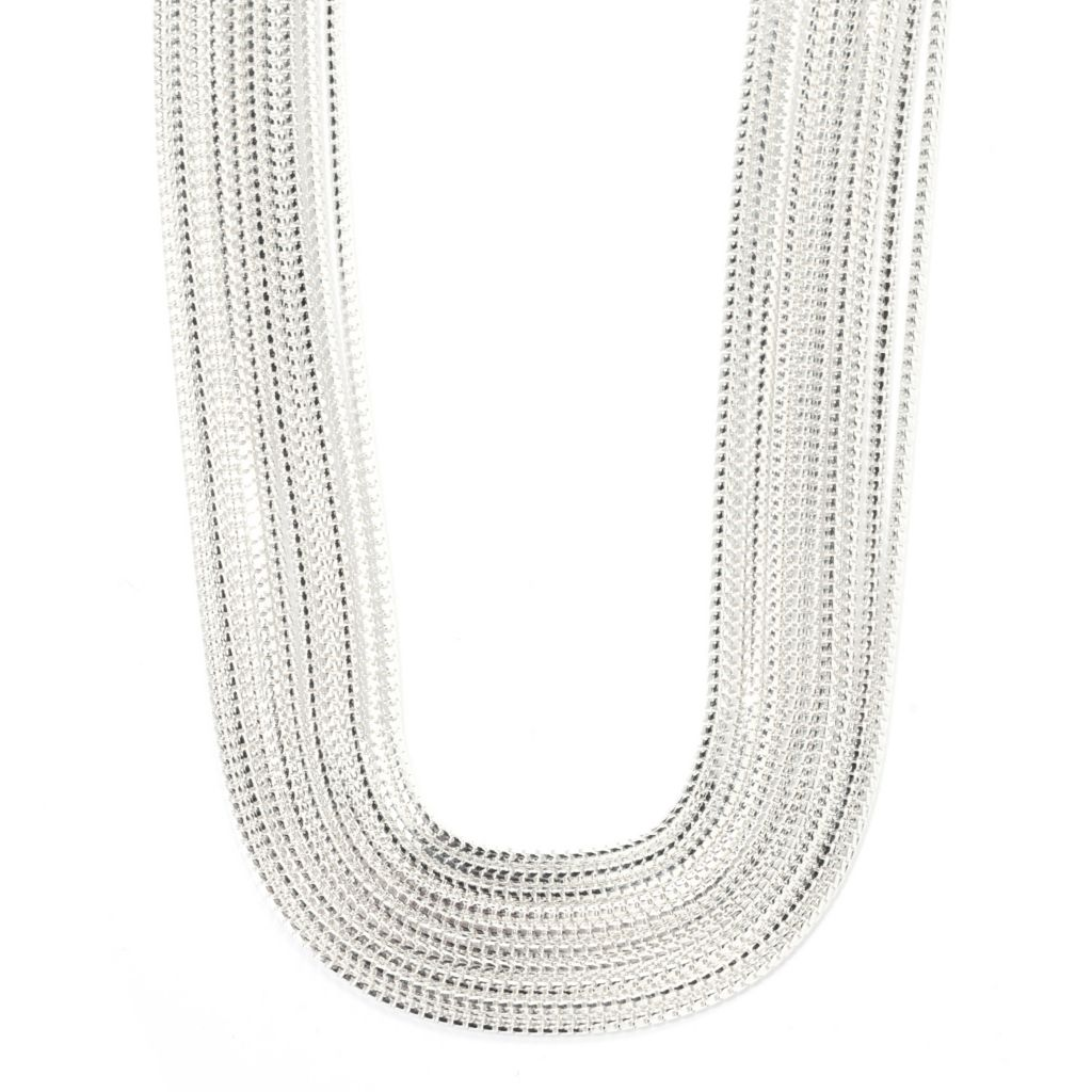 "128-469 - SempreSilver® 18"" Polished Multi Strand Graduated Necklace"