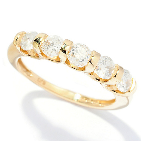 128-471 - Diamond Treasures 14K Gold 1.00ctw Five-Stone Diamond Band Ring
