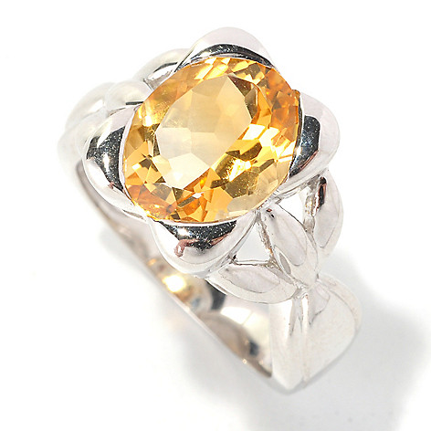 128-473 - Gem Insider Sterling Silver 3.25ctw Oval Shaped Citrine Rectangular Ring