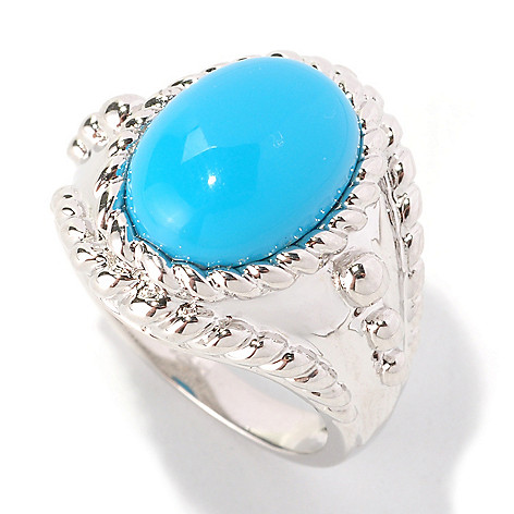 128-475 - Gem Insider Sterling Silver 13 x 9.5mm Turquoise Rope Edged Ring