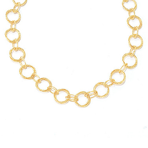 128-486 - Scintilloro™ Gold Embraced™ 20'' Hammered Circle Link Necklace