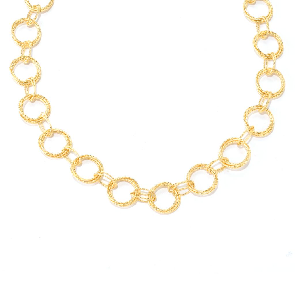 "128-486 - Scintilloro™ Gold Embraced™ 20"" Hammered Circle Link Necklace"