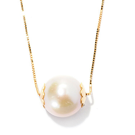 128-497 - Viale18K® Italian Gold 9.5-10mm Cultured Freshwater Pearl Solitaire Necklace