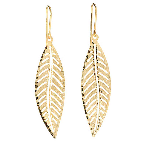 128-500 - Viale18K® Italian Gold Diamond Cut Leaf Earrings