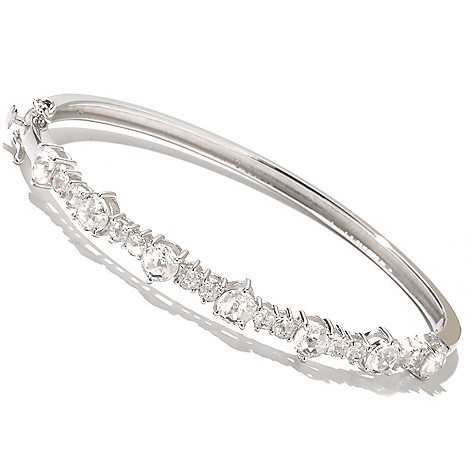 128-515 - Dare to Rare™ by Lucy 4.54 DEW Rose Cut Simulated Diamond Hinged Bangle Bracelet