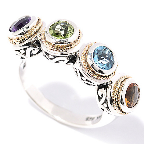 128-521 - Sterling Artistry by Effy 1.40ctw Multi Gemstone Four-Stone Ring